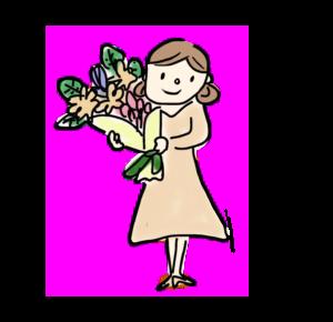 花を持っている人