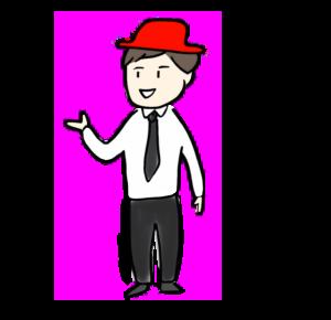 赤い帽子をかぶっている人