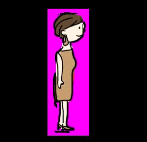 茶色いドレスを着ている女の人