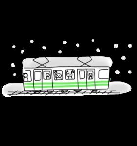 雪で止まっている