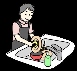 お皿を洗う