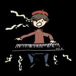 ピアノを弾きながら歌っている人